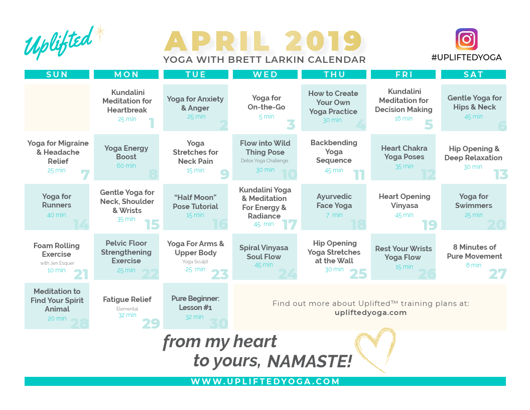 April 2019 Calendar Brett Larkin Yoga Brett Larkin Yoga